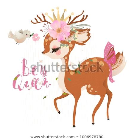 pequeno · princesa · veado · rosa · castelo · inverno - foto stock © liolle