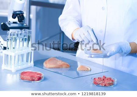 Scientist Holding Petri Dish With Meat Sample Stock photo © AndreyPopov