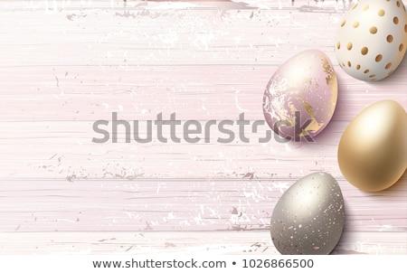 Rose cuivre œufs de Pâques luxe carte de vœux joyeuses pâques Photo stock © cienpies