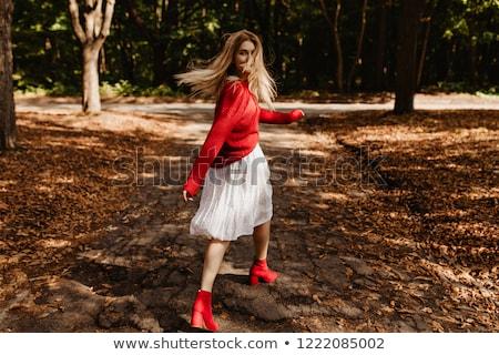 portret · młoda · kobieta · czerwony · hat · podniecony - zdjęcia stock © deandrobot