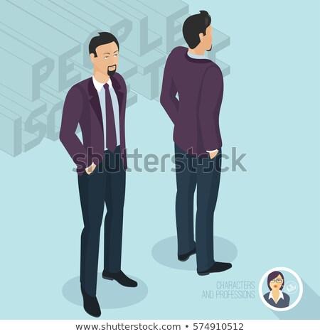 businessman from the back standing isometric 3d illustration stock photo © rastudio