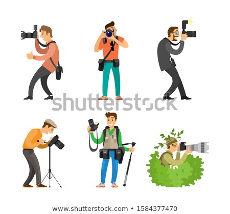 Photojournalist and Reporter Carrying Bag or Backpack Stock photo © robuart