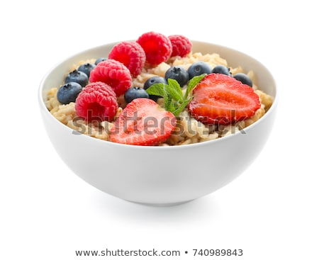zab · pelyhek · friss · bogyók · fehér · tányér - stock fotó © tycoon