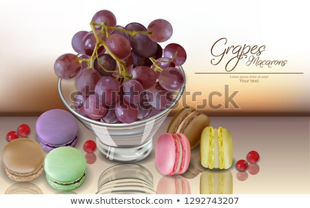 Grapes fruit and macaroons Vector realistic. 3d detailed card menu template. delicious desserts post stock photo © frimufilms
