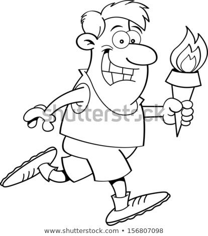 Cartoon Running Man with a Torch (Black & White Line Art) Stock photo © bennerdesign