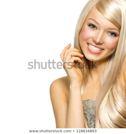 Portré gyönyörű fiatal szőke nő fényes Stock fotó © dashapetrenko