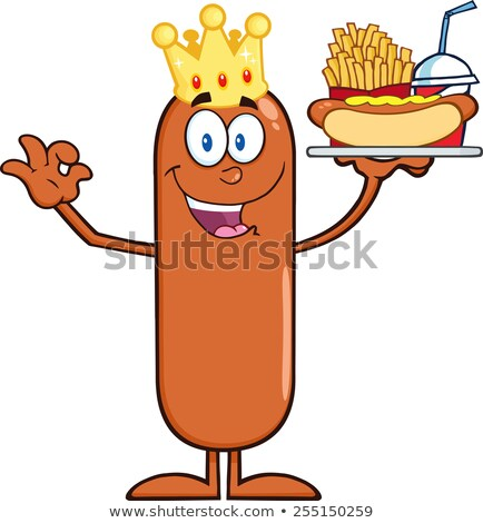 King Sausage Cartoon Character Carrying A Hot Dog, French Fries And Cola Stock photo © hittoon