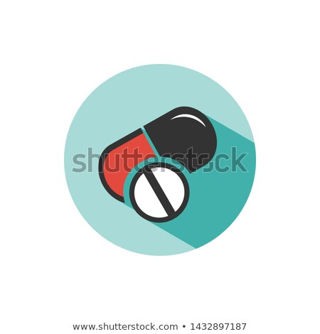 Pills color icon with shade on a green circle Stock photo © Imaagio