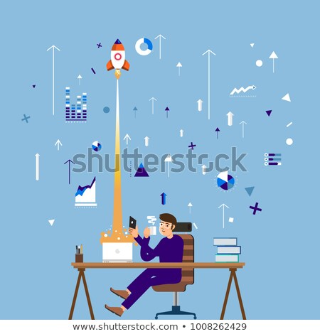 Innovation Technology, Spaceship and Worker Vector Stock photo © robuart