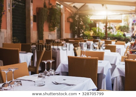 Pizzeria Interior, Table and Chairs, Served Food Stock photo © robuart