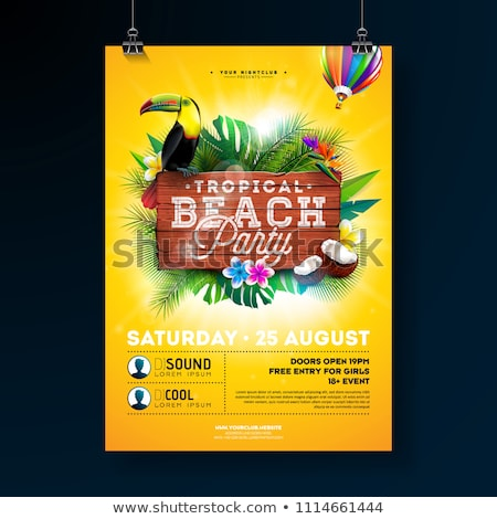 tropical summer beach party flyer design with flower coconut palm leaves and toucan bird on blue b stock photo © articular