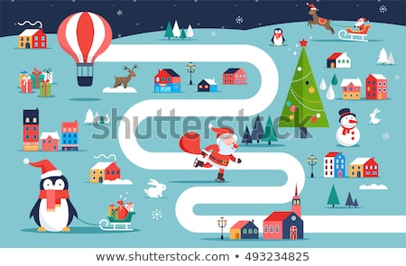 Christmas dorp kaart winter stad bordspel Stockfoto © marish