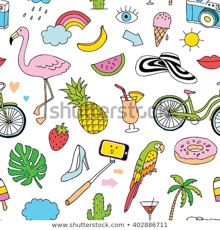 flamingo cocktail pineapple summer icons vector stock photo © robuart
