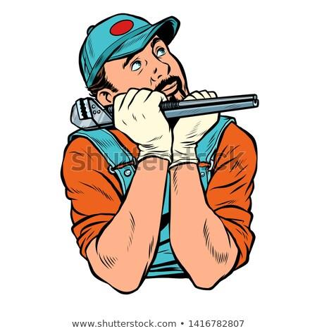 plumber with wrench dreamer thinks Stock photo © studiostoks