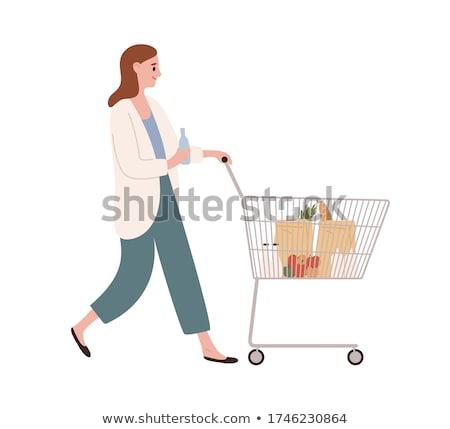 Funny young woman goes shopping illustration Stock photo © tiKkraf69