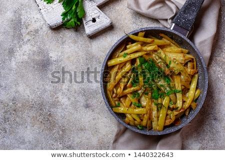 Citromsárga viasz bab serpenyő serpenyő konyha Stock fotó © furmanphoto