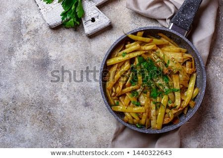 Geel wax bonen schaal koekenpan keuken Stockfoto © furmanphoto