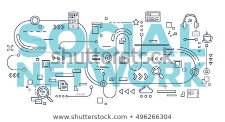 Sociale netwerken promotie banner gebruikers zoals Stockfoto © RAStudio