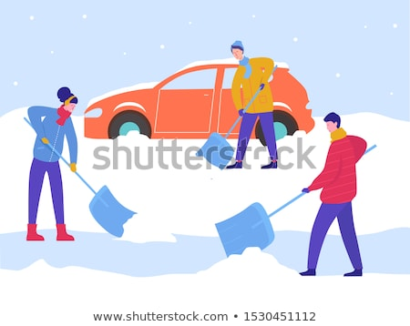 Young Man Clearing Snow From Drive Stock photo © monkey_business