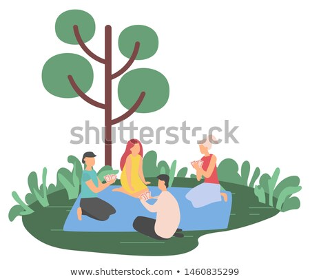 Friends Gambling on Grass, Hobby and Nature Vector Stock photo © robuart