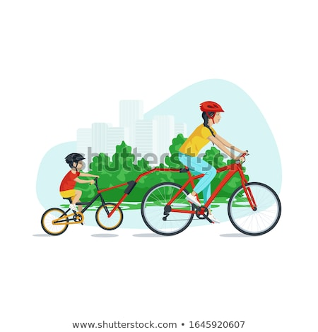 family leisure in city park mom and son vector stock photo © robuart
