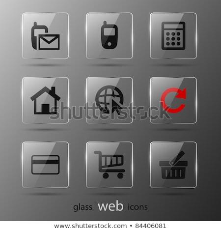Azul vidrio iconos de la web aislado mundo pluma Foto stock © cidepix