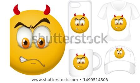 Graphic design diverso prodotti diavolo faccia illustrazione Foto d'archivio © bluering