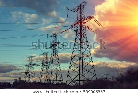 Távvezeték elektromosság támogatás nagyfeszültség zöld hegy Stock fotó © jossdiim