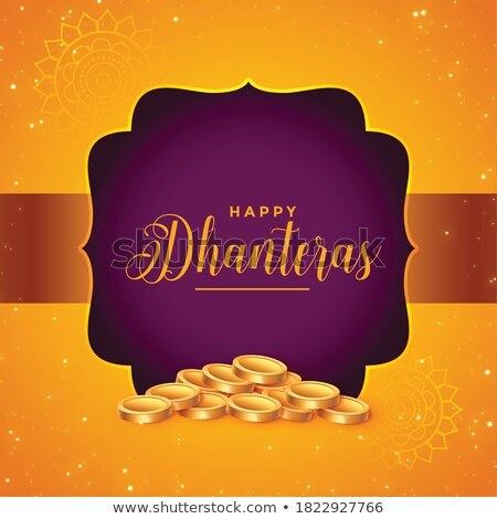 lovely dhanteras festival decorative card design with golden kal Stock photo © SArts