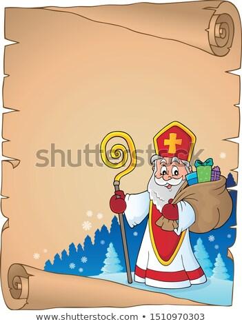 Saint Nicholas topic parchment 6 Stock photo © clairev