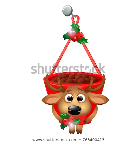 Hanging flower pot with deer isolated on a white background. Sketch of Christmas festive poster, par Stock photo © Lady-Luck