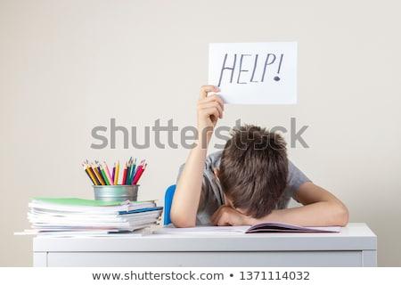 Zorluklar öğrenme genç ev kitap çalışmak Stok fotoğraf © Lopolo
