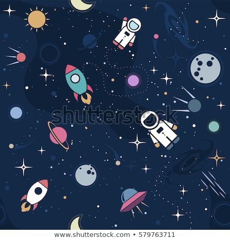 Stock photo: Space Background for Kids. Moon planet seamless pattern with silhouette elements. Stock vector wallp