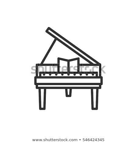 Zongora dallam ikon vektor szimbólum lineáris Stock fotó © kyryloff