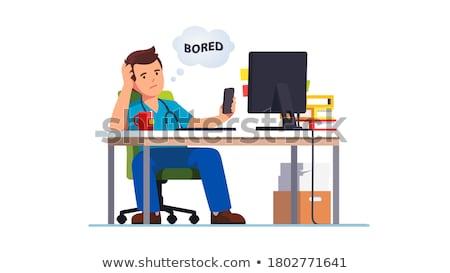 férfi · asztali · számítógép · fiatal · boldog · nappali · számítógép - stock fotó © andreypopov