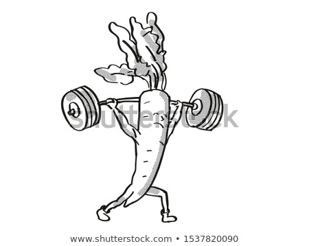 Radish Healthy Vegetable Lifting Barbell Cartoon Retro Drawing Stock photo © patrimonio