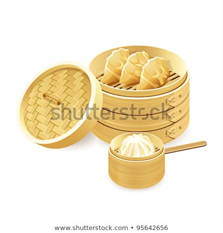 Asian food illustration set of steamers with dim sum, baozi and  Stock photo © Margolana