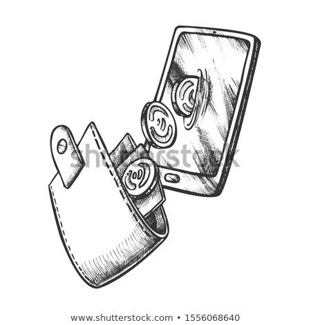 ウォレット コイン スマートフォン モノクロ ベクトル 革 ストックフォト © pikepicture