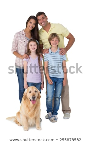 Happy young family standing in front of camera on background of mature adults Stock photo © pressmaster