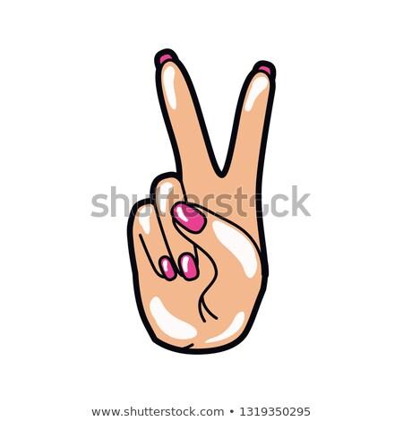 Női kezek béke felirat lány erő Stock fotó © beaubelle