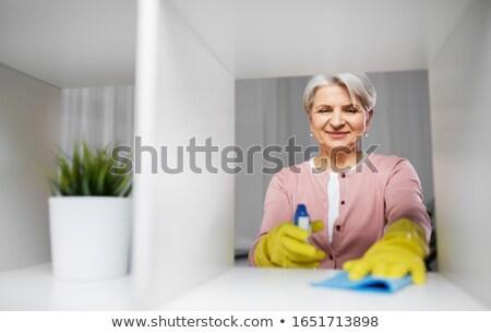 Feliz mulher pano cremalheira casa pessoas Foto stock © dolgachov