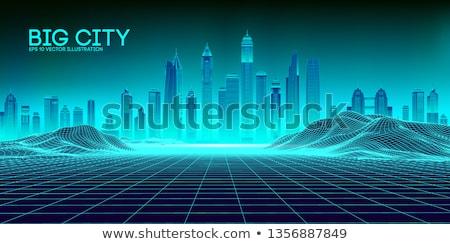 Retro Futuristic Skyscraper City on Digital Cyber Surface. Stock photo © tashatuvango