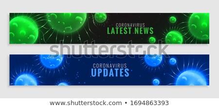 Zielone niebieski koronawirus wiadomości zdrowia komórek Zdjęcia stock © SArts