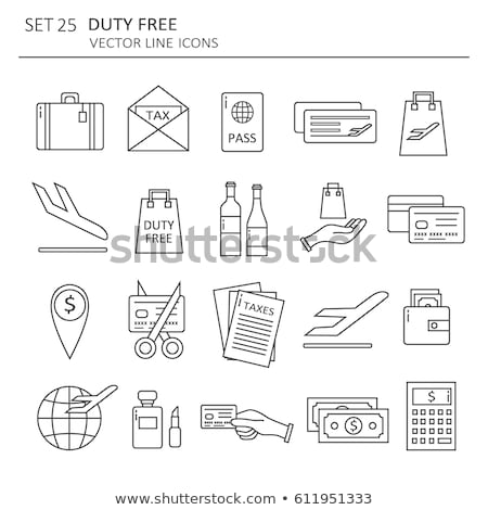Duty Free Shop Store Collection Icons Set Vector Stock photo © pikepicture