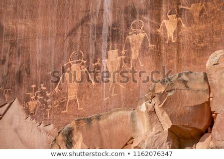 Petroglyphs on rock in Capitol reef national park, Utah, USA Stock photo © flariv