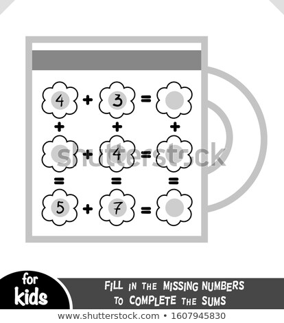 How many counting game with kitchen pictures for kids, educational maths task Stock photo © natali_brill