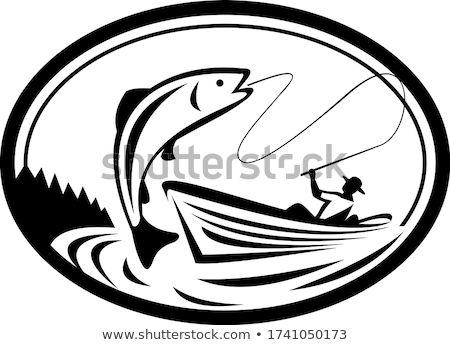 Fly Fisherman Fishing Boat Reeling Trout Oval Retro Black and White Stock photo © patrimonio