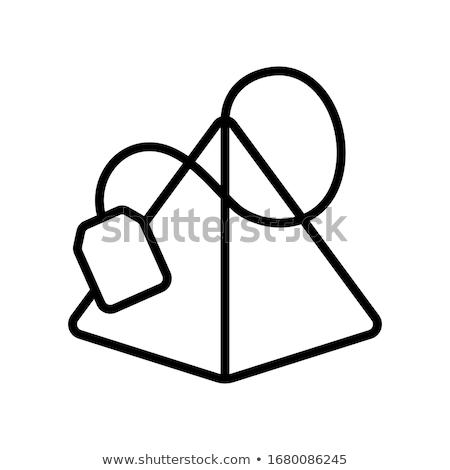 tea bag pyramids icon vector outline illustration Stock photo © pikepicture