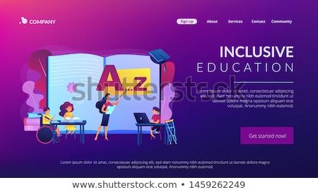Oktatás leszállás oldal mozgássérült gyerekek tanul Stock fotó © RAStudio
