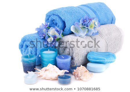 Stock photo: blue towels with lflowers and shell